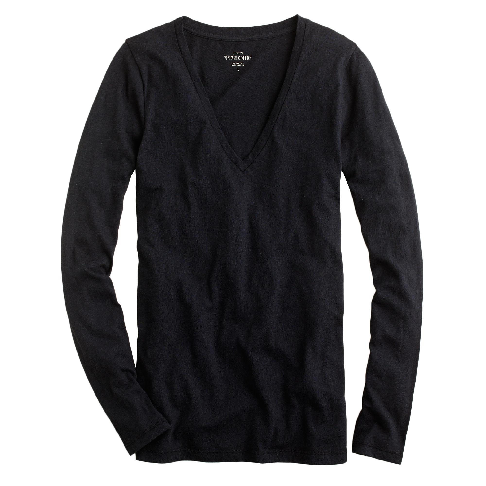 Petite vintage cotton long sleeve v neck t shirt in for Long sleeve v neck tee shirts