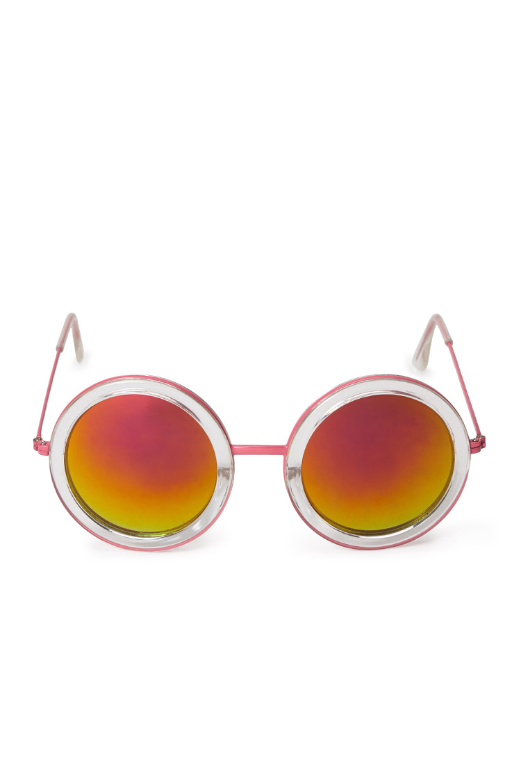 Sunglasses Forever 21  forever 21 quirky round sunglasses in pink lyst