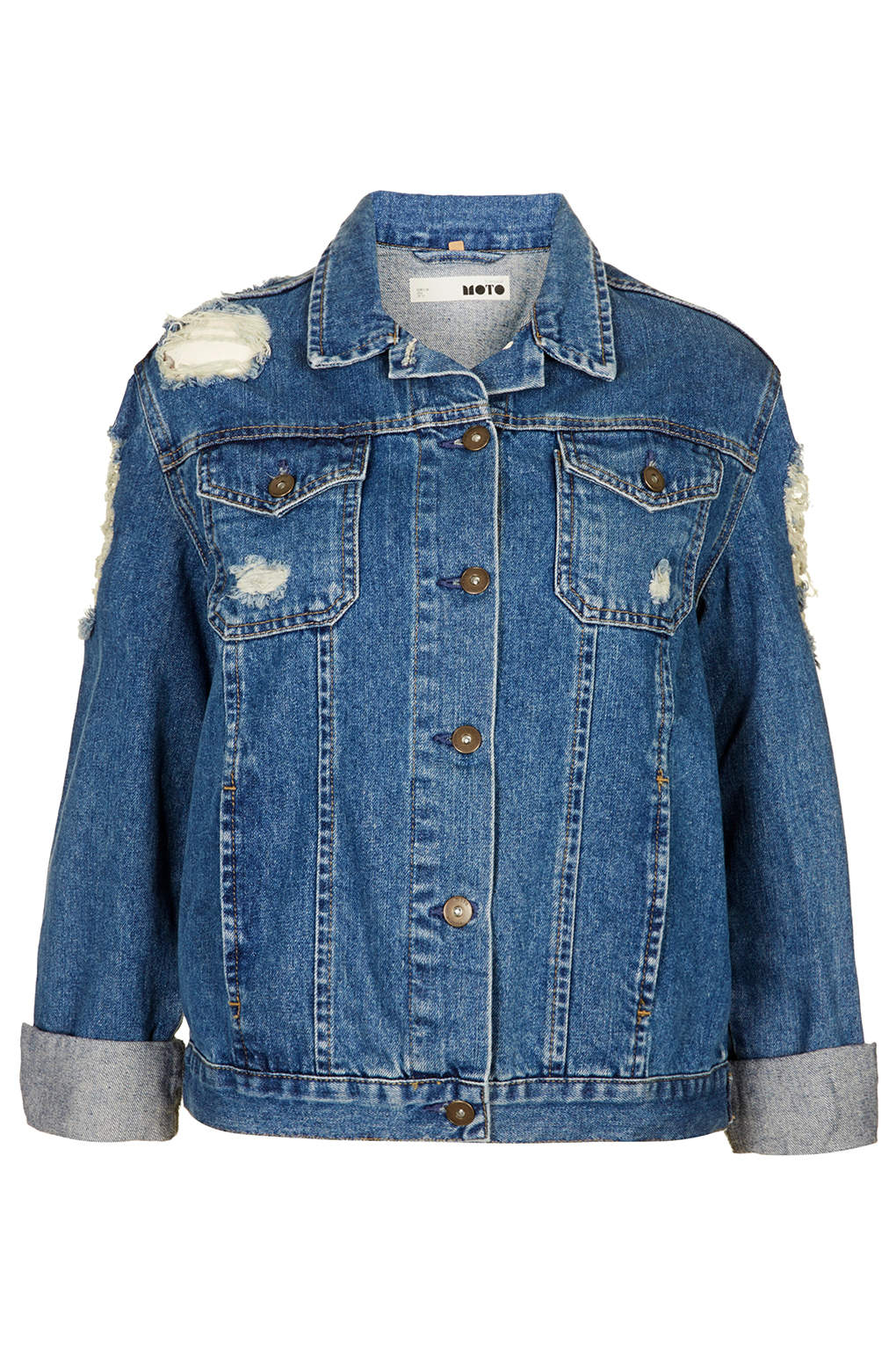 Topshop moto ripped denim jacket in blue mid stone lyst for Womens denim shirts topshop