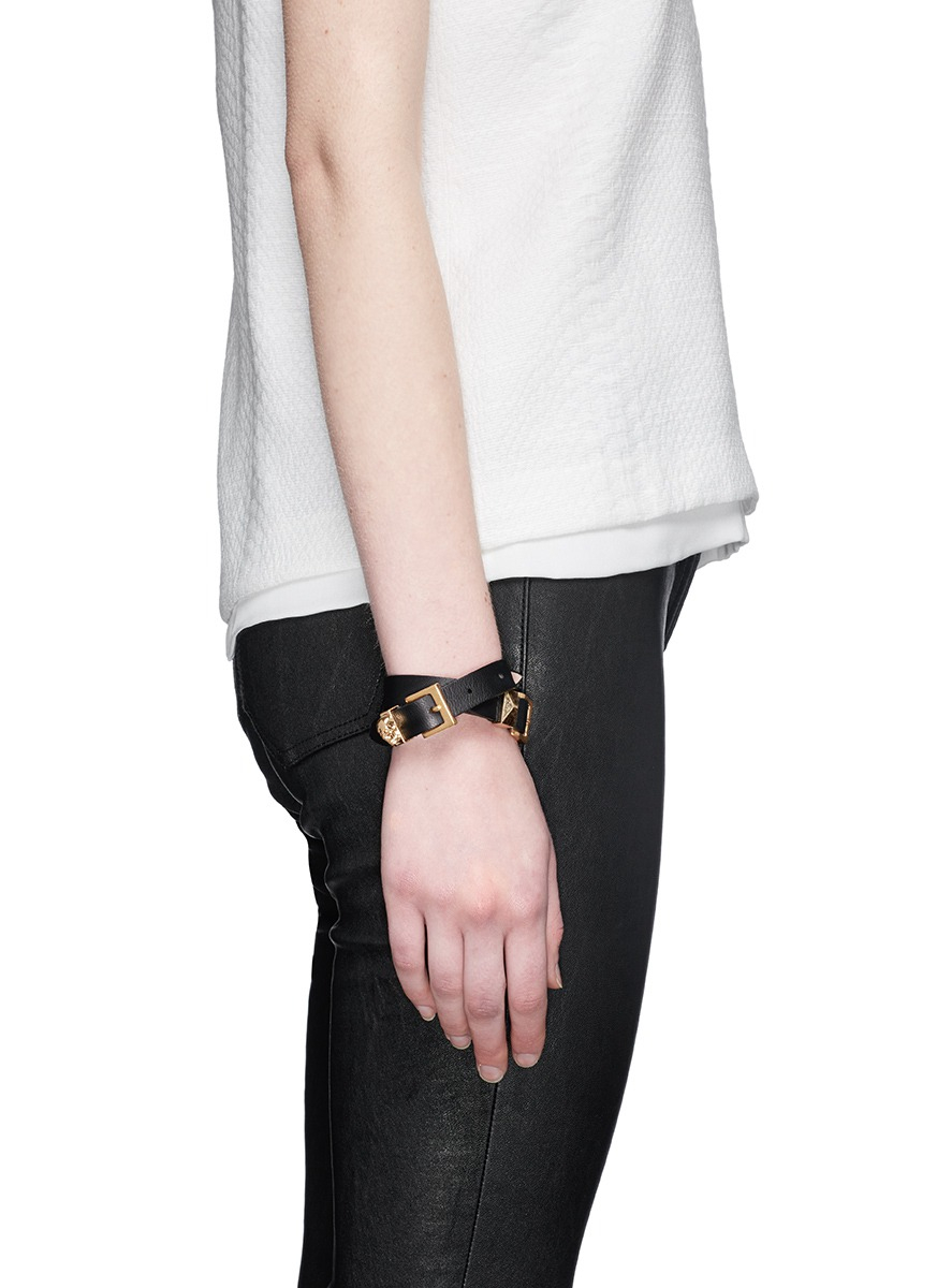 Skull-charm double-wrap leather bracelet Alexander McQueen nGRZX1R