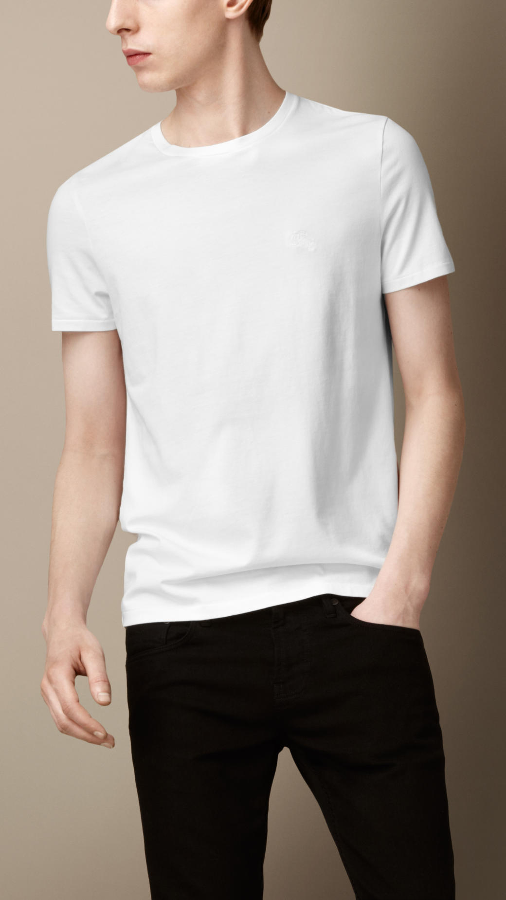 Lyst burberry liquid soft cotton tshirt in white for men for Soft cotton dress shirts