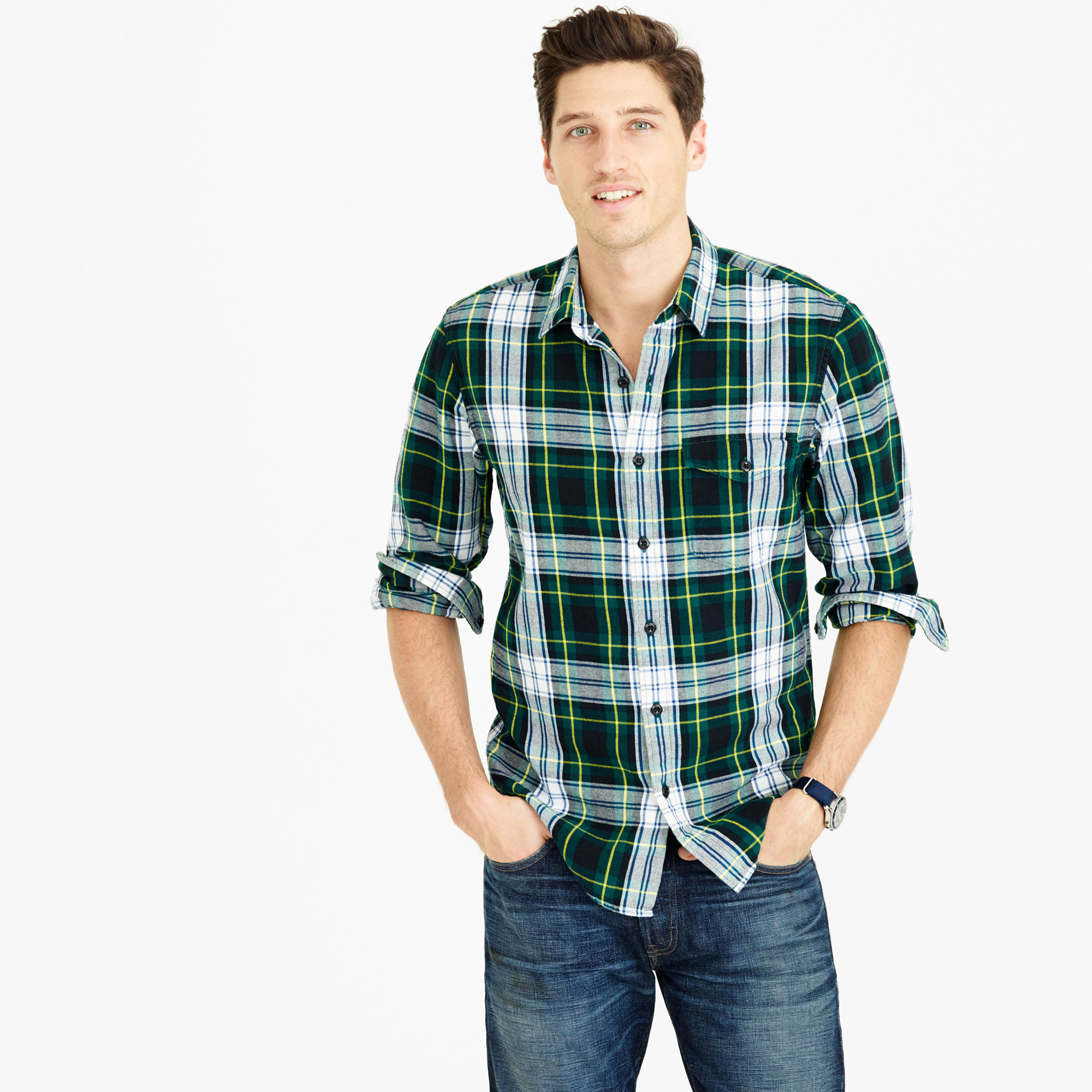 Midweight Flannel Shirt In Archibald Plaid In Green