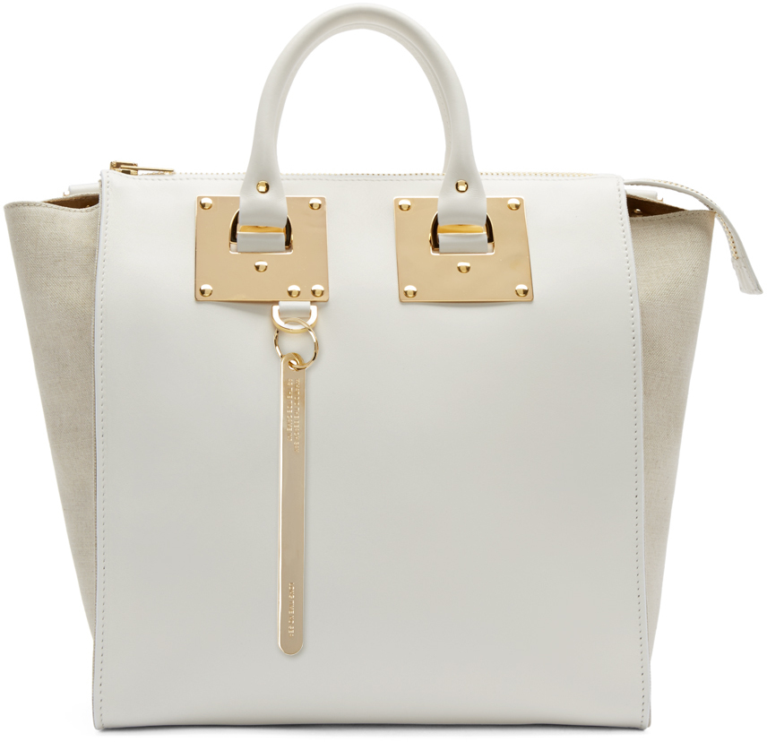 Sophie Hulme Leather White Holmes Tote Bag