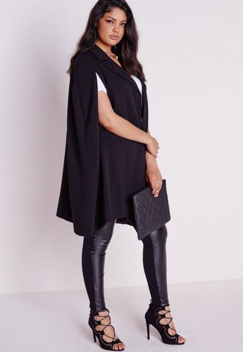 f84c3db2ab Missguided Plus Size Cape Blazer Crepe Black in Black - Lyst