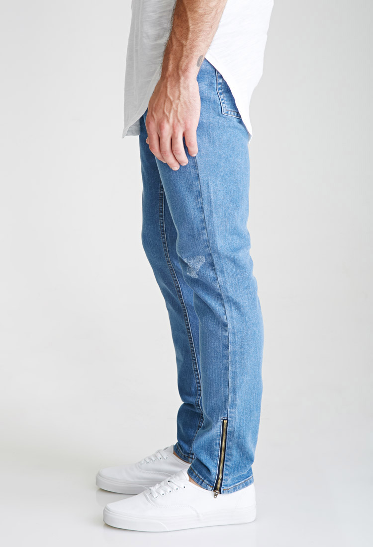 lyst forever 21 distressed wash slim zippered jeans in blue for men