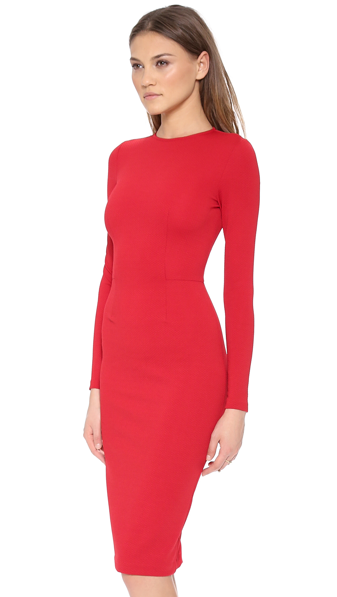5th & mercer Long Sleeve Dress in Red | Lyst