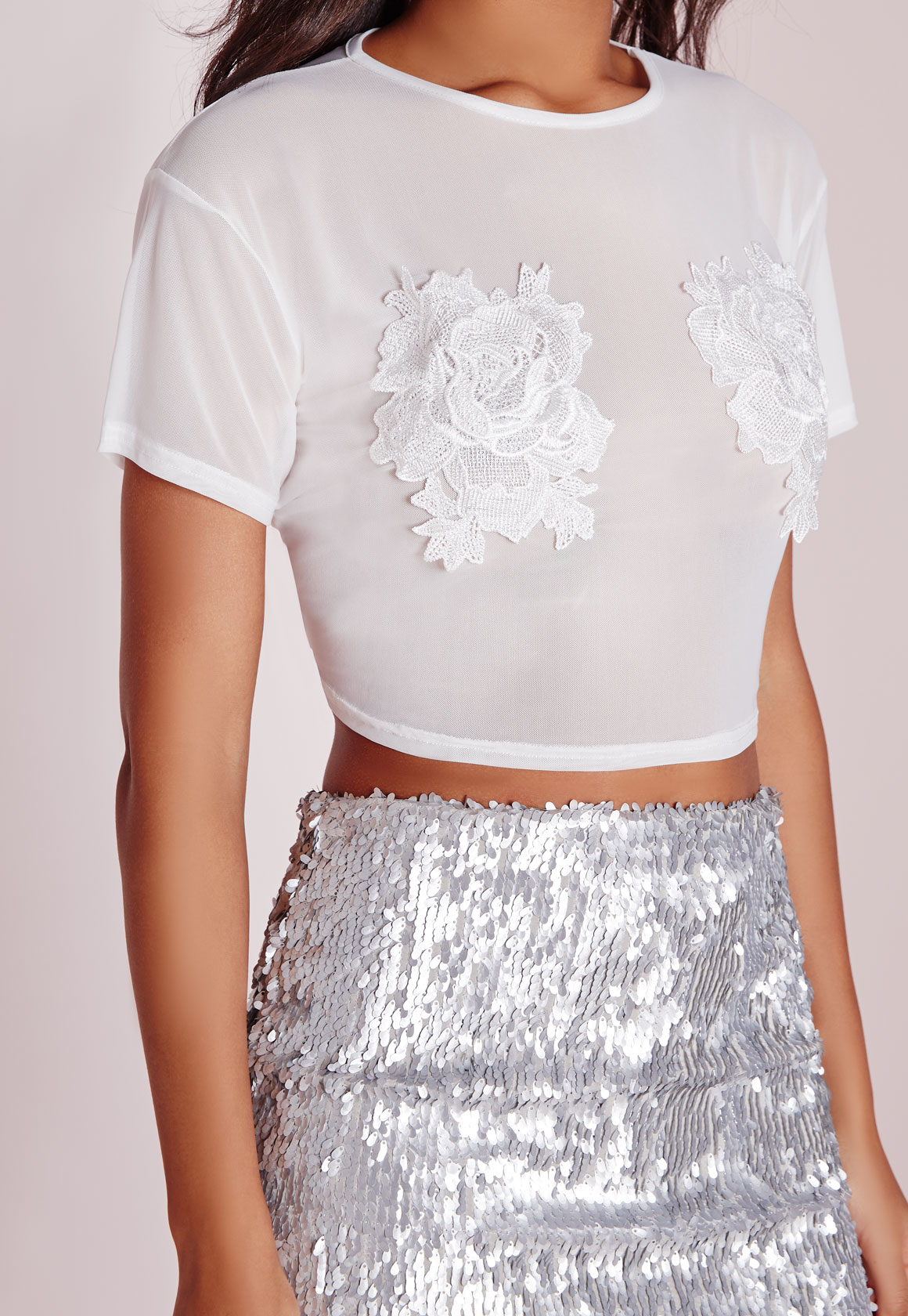 Lyst Missguided Mesh Floral Applique Crop Top White In Black