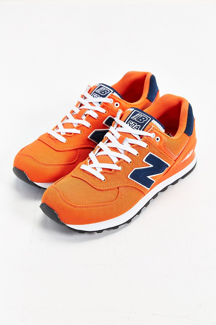 New Balance 574 Pique Polo Collection Running Sneaker in Orange ...
