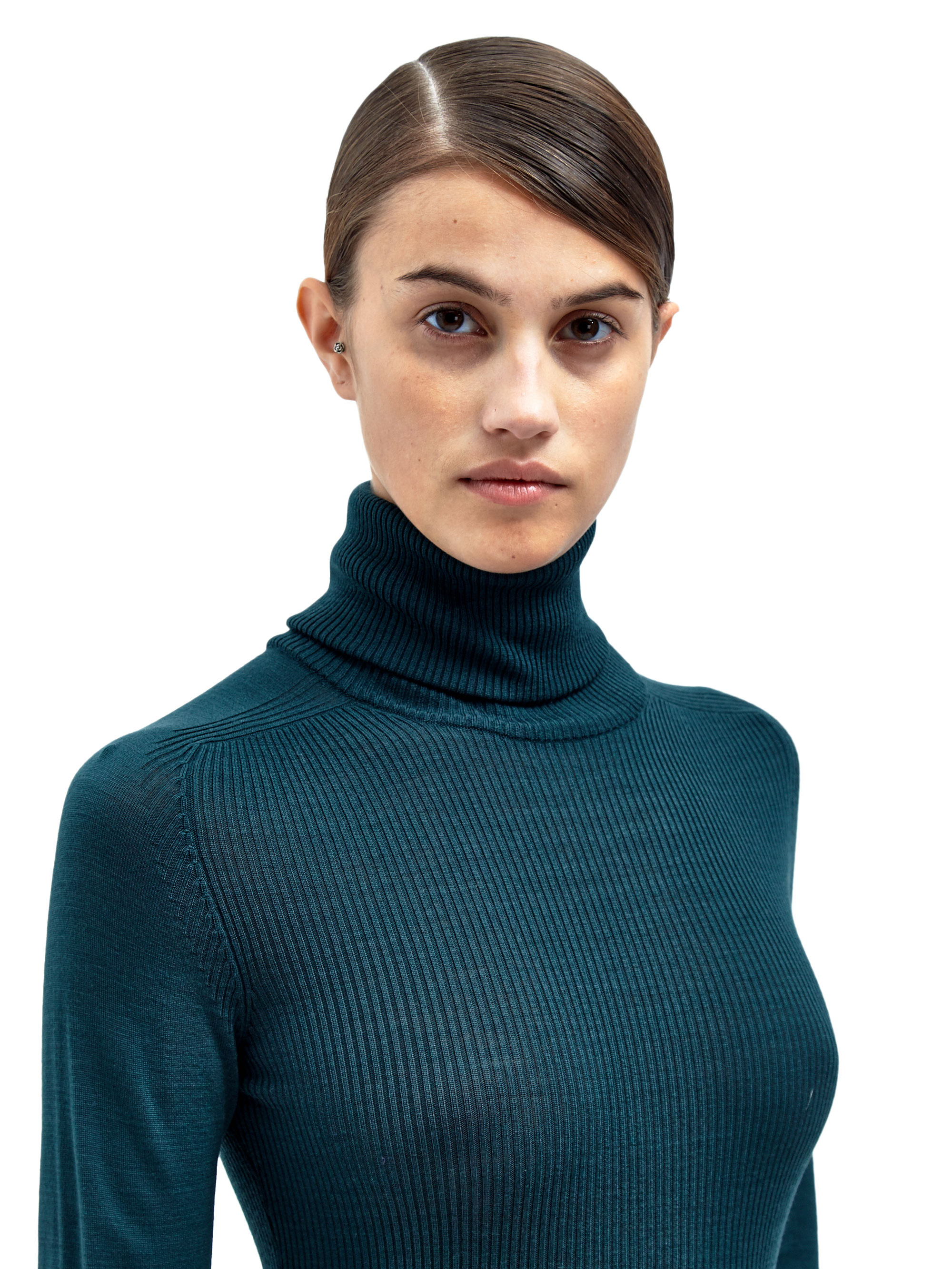 Lanvin Womens Knitted Turtle Neck Top in Green