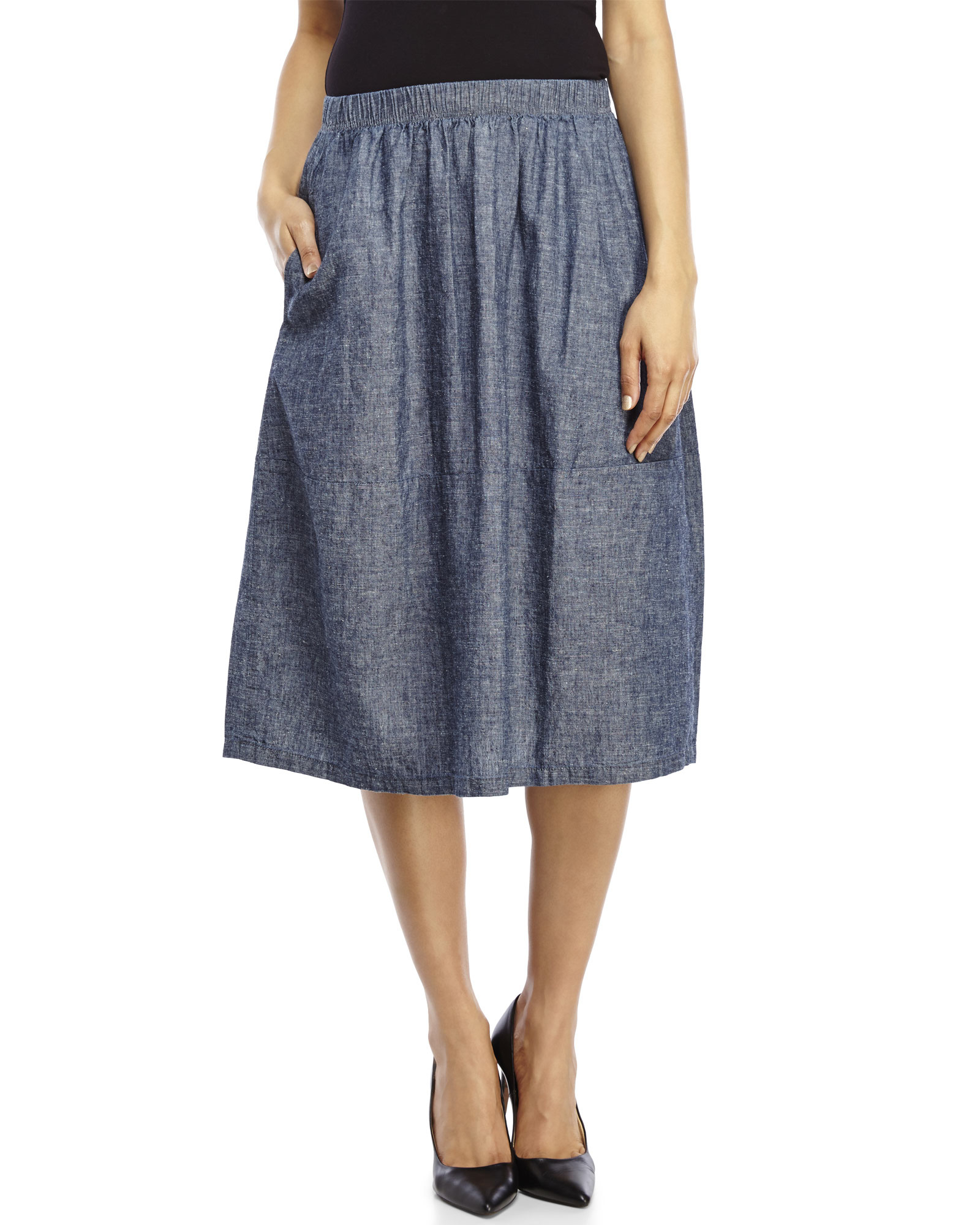 5114cf58ee8 Lyst - Eileen Fisher Calf-Length Chambray Oval Skirt in Blue
