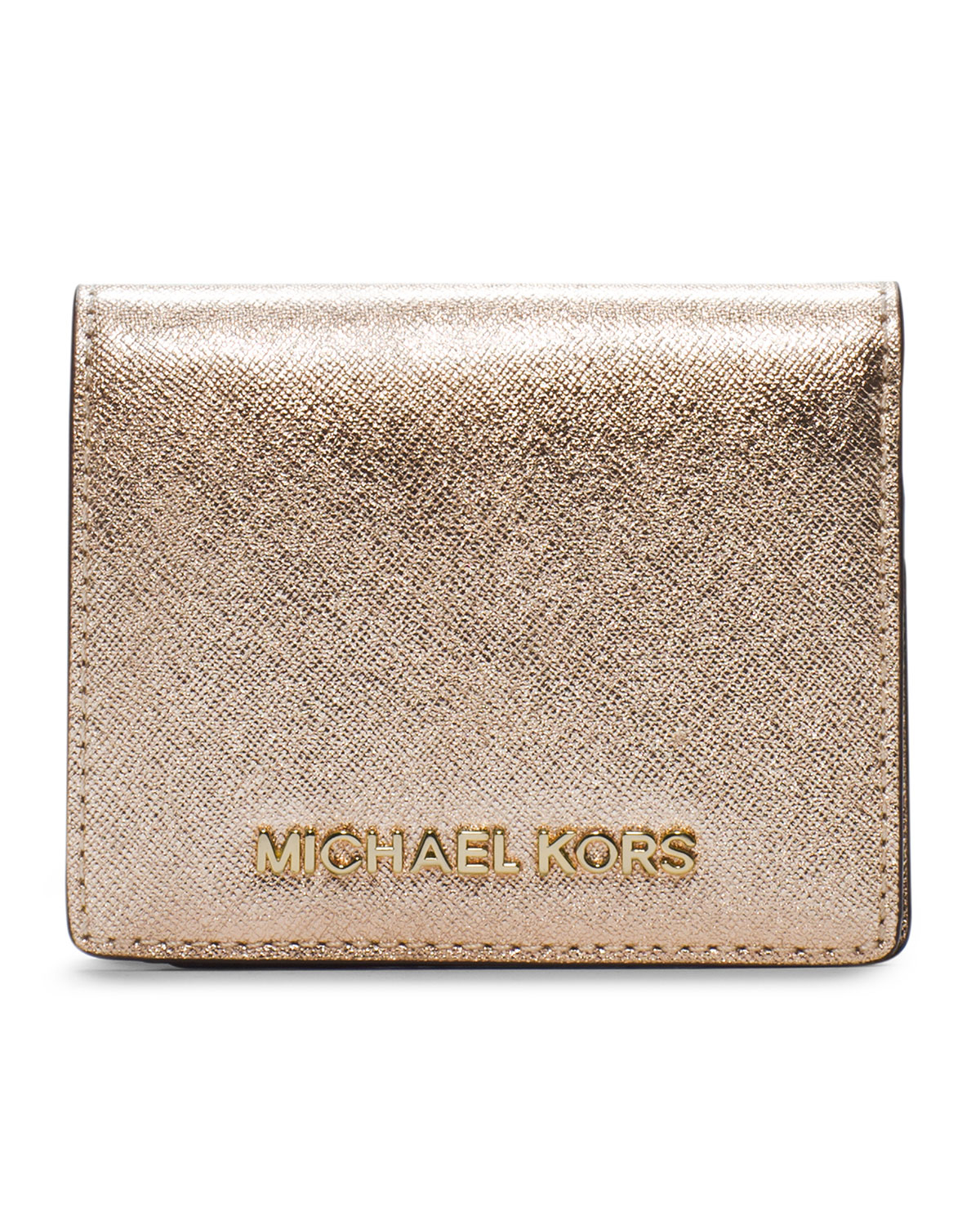 f54fe5d717dcde Michael Kors Michael Jet Set Travel Flap Card Holder in Metallic - Lyst