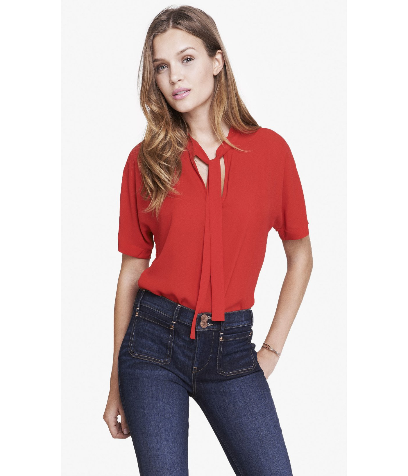 Express tie front short sleeve blouse in red engine red for Express shirt and tie