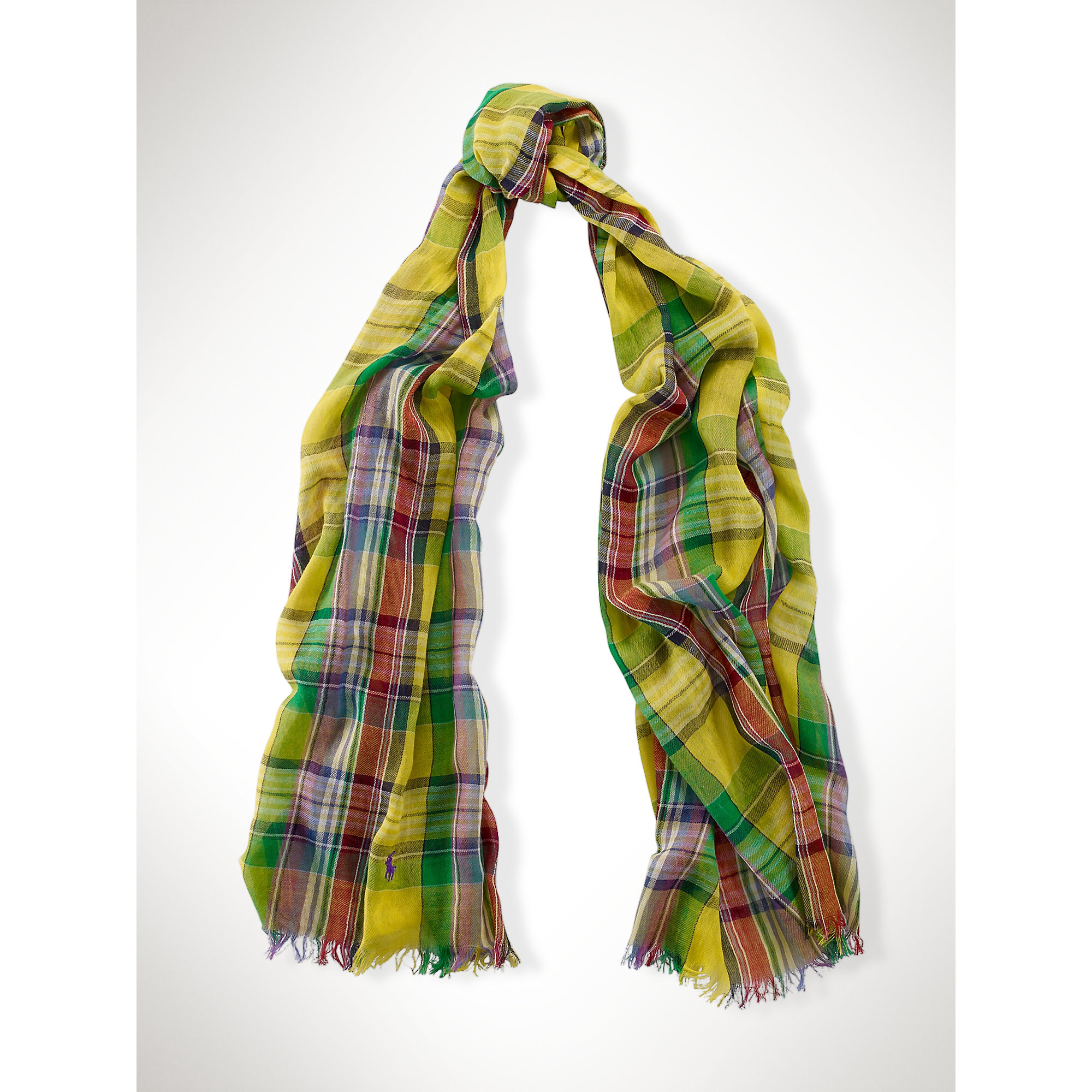 ralph gauzy cotton plaid scarf in yellow lyst