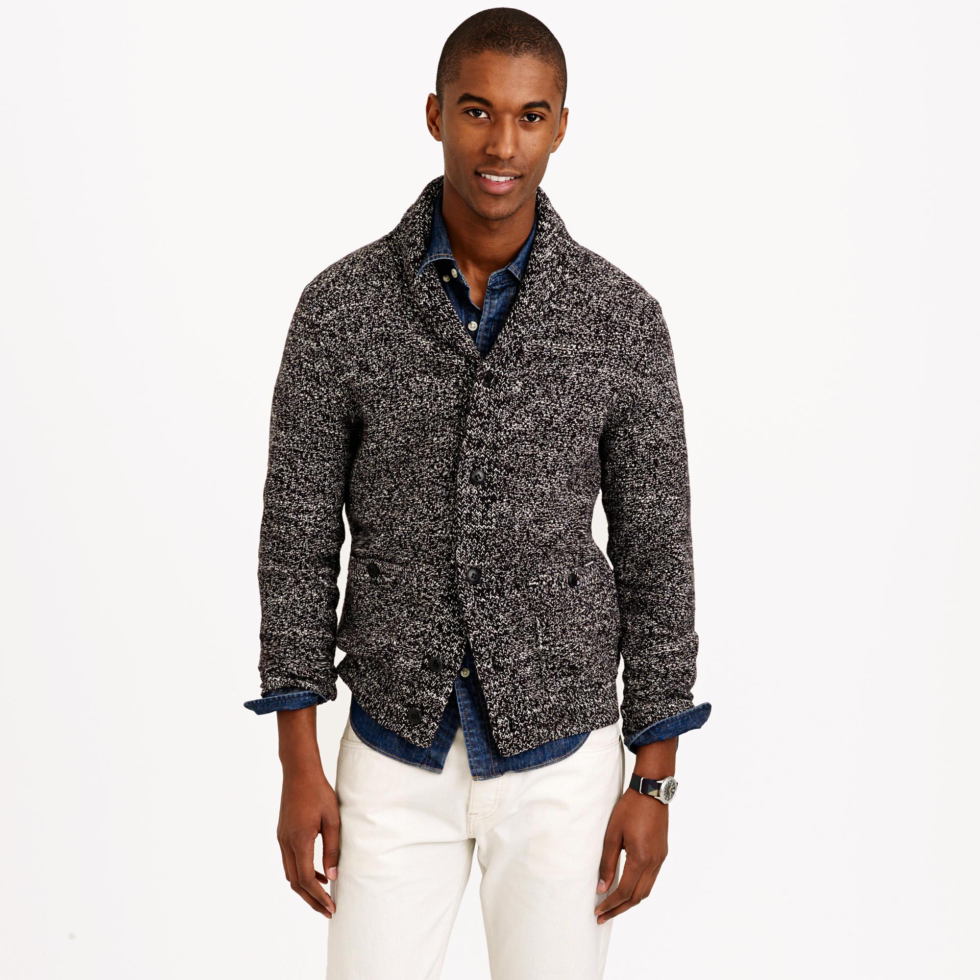 623a7ffa748d Lyst - J.Crew Marled Cotton Shawl-collar Cardigan Sweater in Black ...