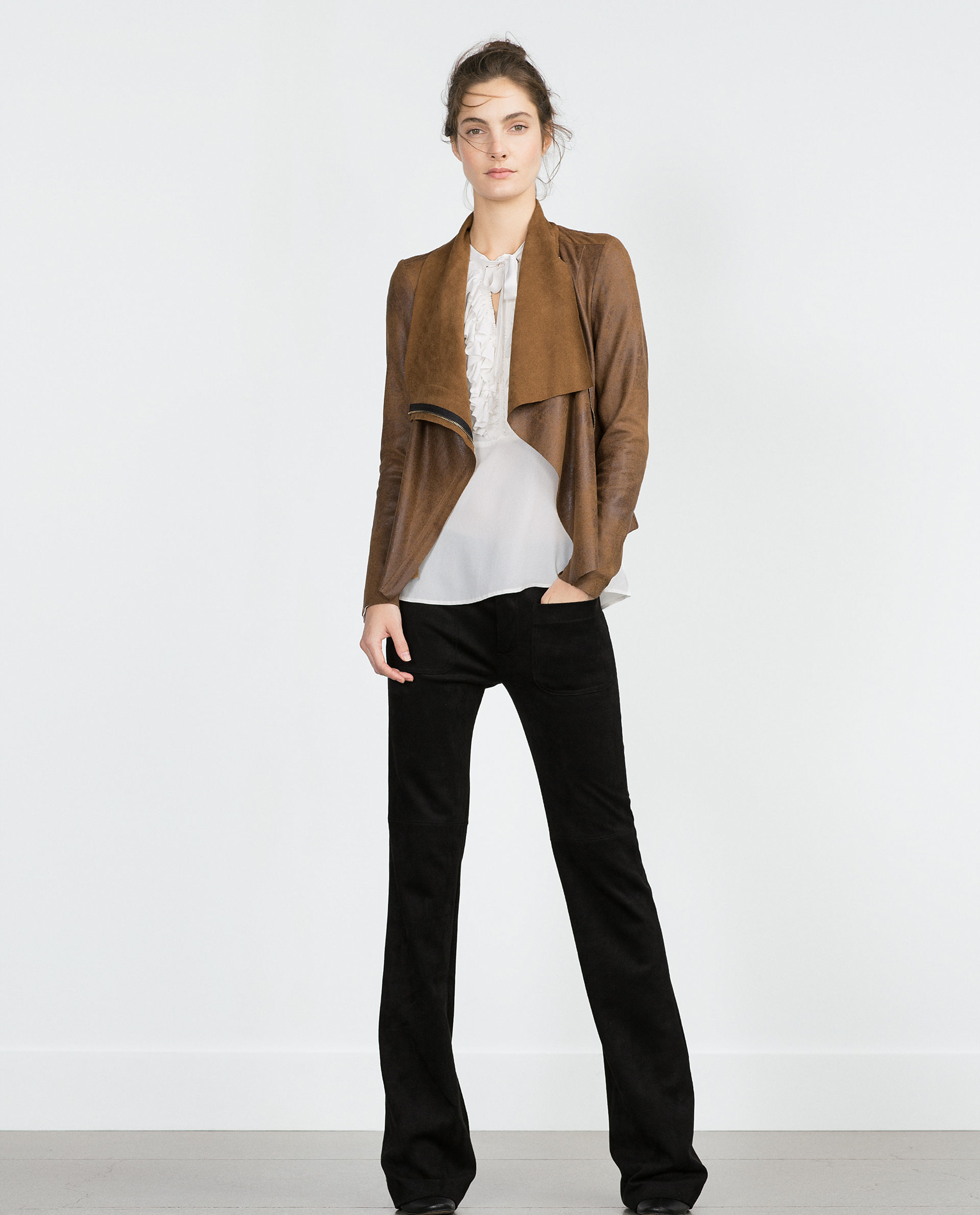 Zara Faux Suede Overshirt In Brown Lyst