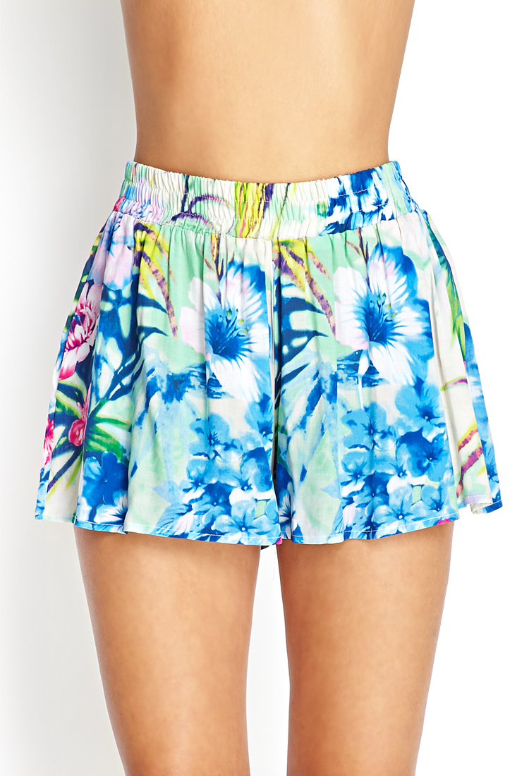 Forever 21 Tropical Print Flowy Shorts in Blue | Lyst