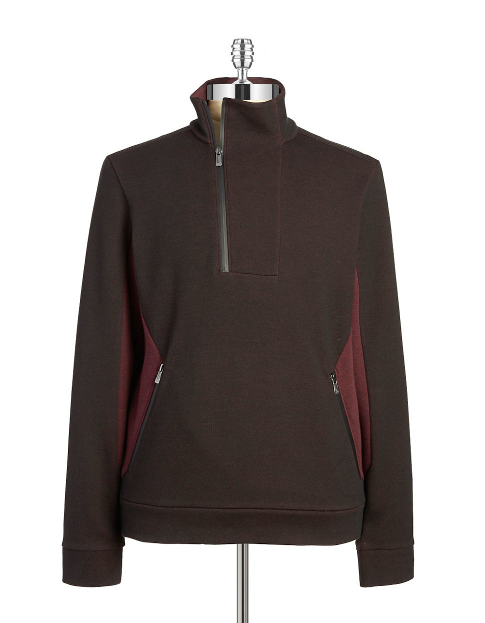 calvin klein colorblock quarter zip pullover in black for men black cherry lyst. Black Bedroom Furniture Sets. Home Design Ideas