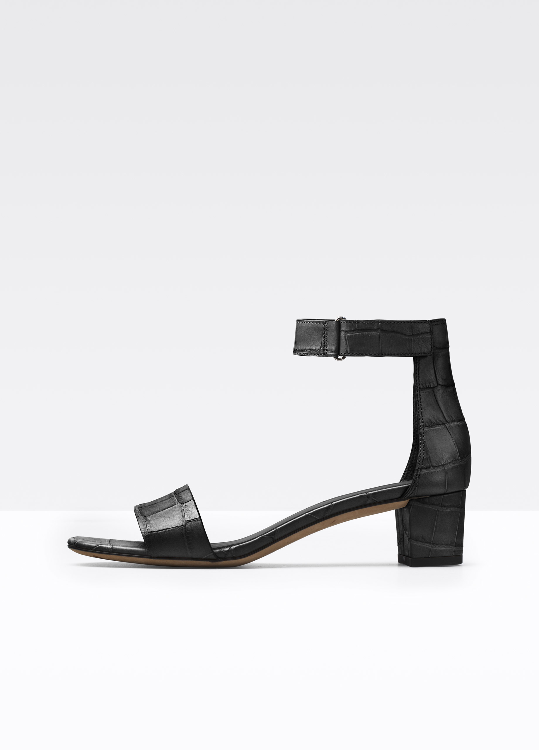 Vince Rita Croc Printed Leather City Sandal In Black Lyst