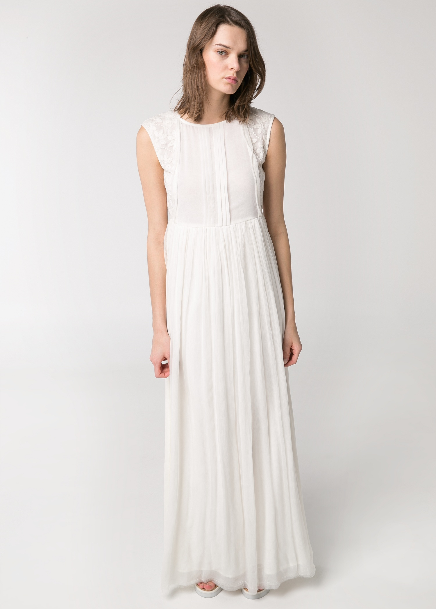 Mango embroidered long dress in white lyst