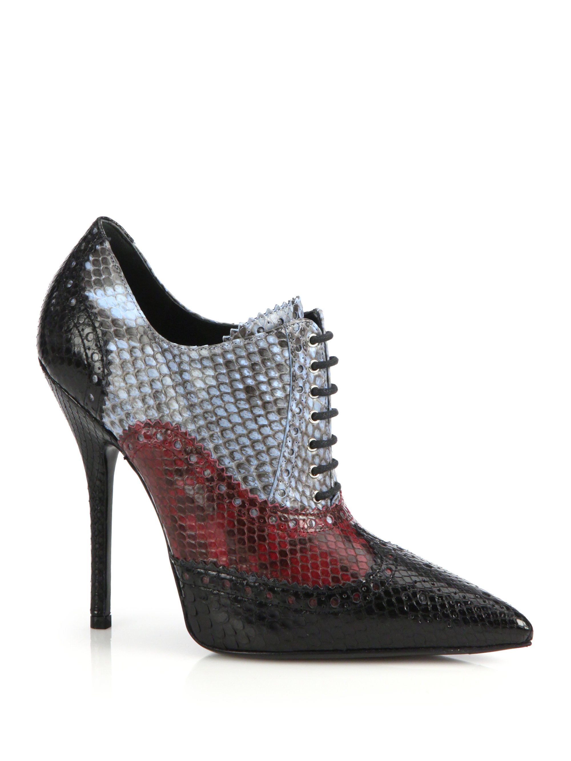 Gucci Gia Colorblock Python Oxford Booties In Black Lyst