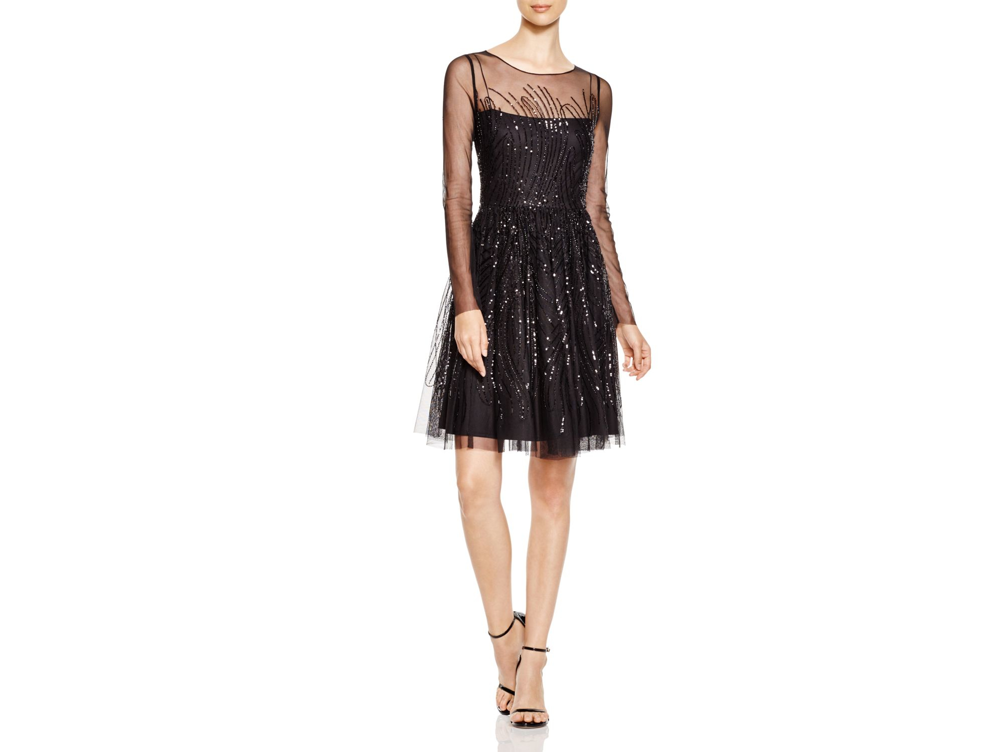 339c3bf9 Vera Wang Sequin Fit And Flare Dress in Black - Lyst