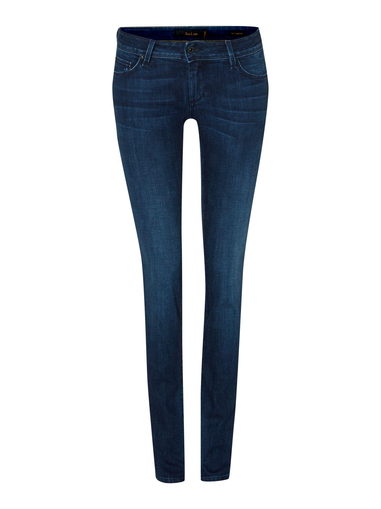 salsa wonder push up slim jeans in blue denim dark wash lyst. Black Bedroom Furniture Sets. Home Design Ideas