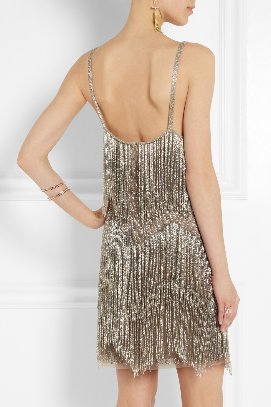 Topshop Fringed Beaded Tulle Mini Dress In Metallic Lyst
