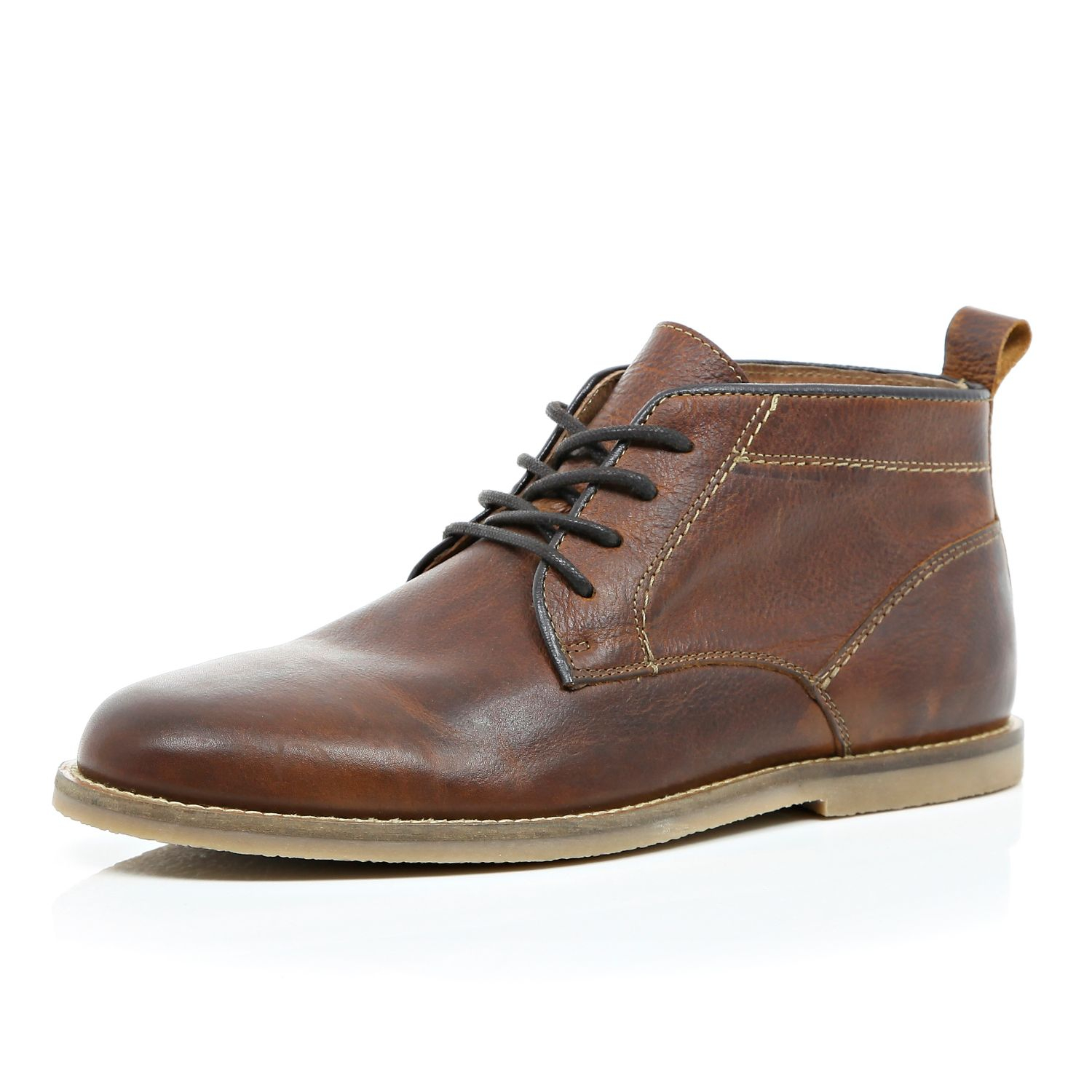 river island brown leather lace up desert boots in brown