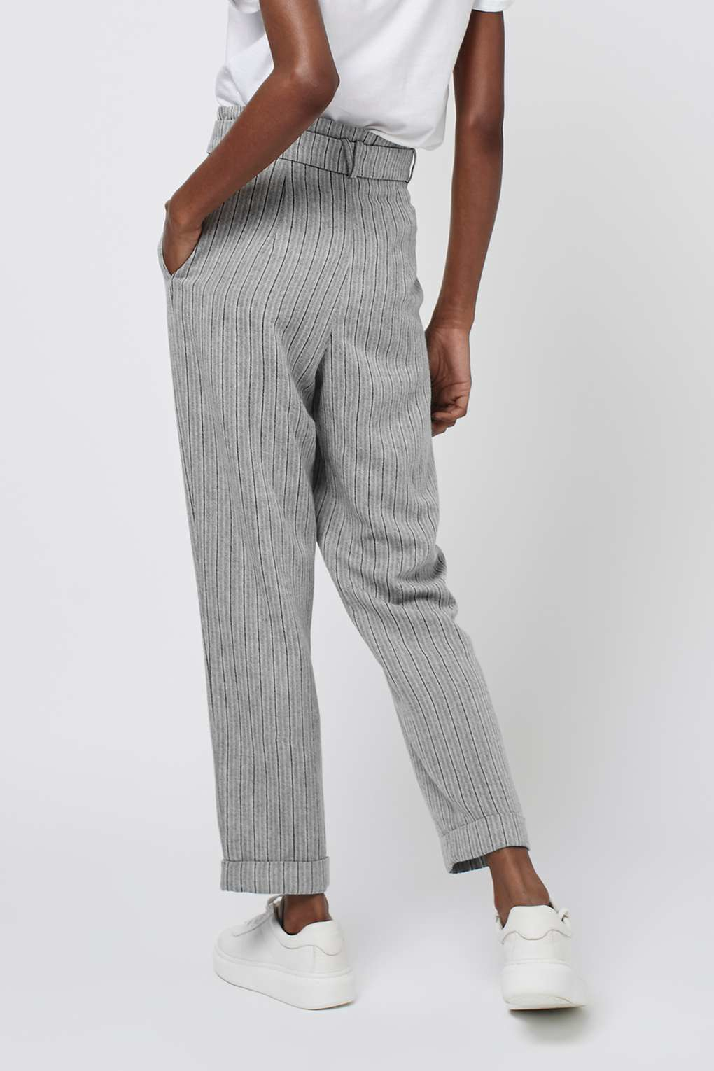 Topshop Stripe Paperbag Trousers In Gray Lyst