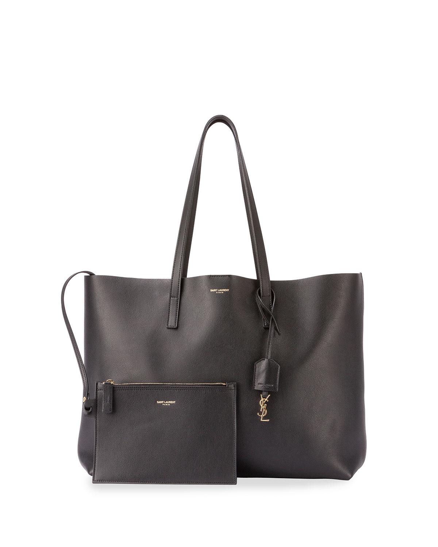 saint laurent east west leather shopper bag in black lyst. Black Bedroom Furniture Sets. Home Design Ideas