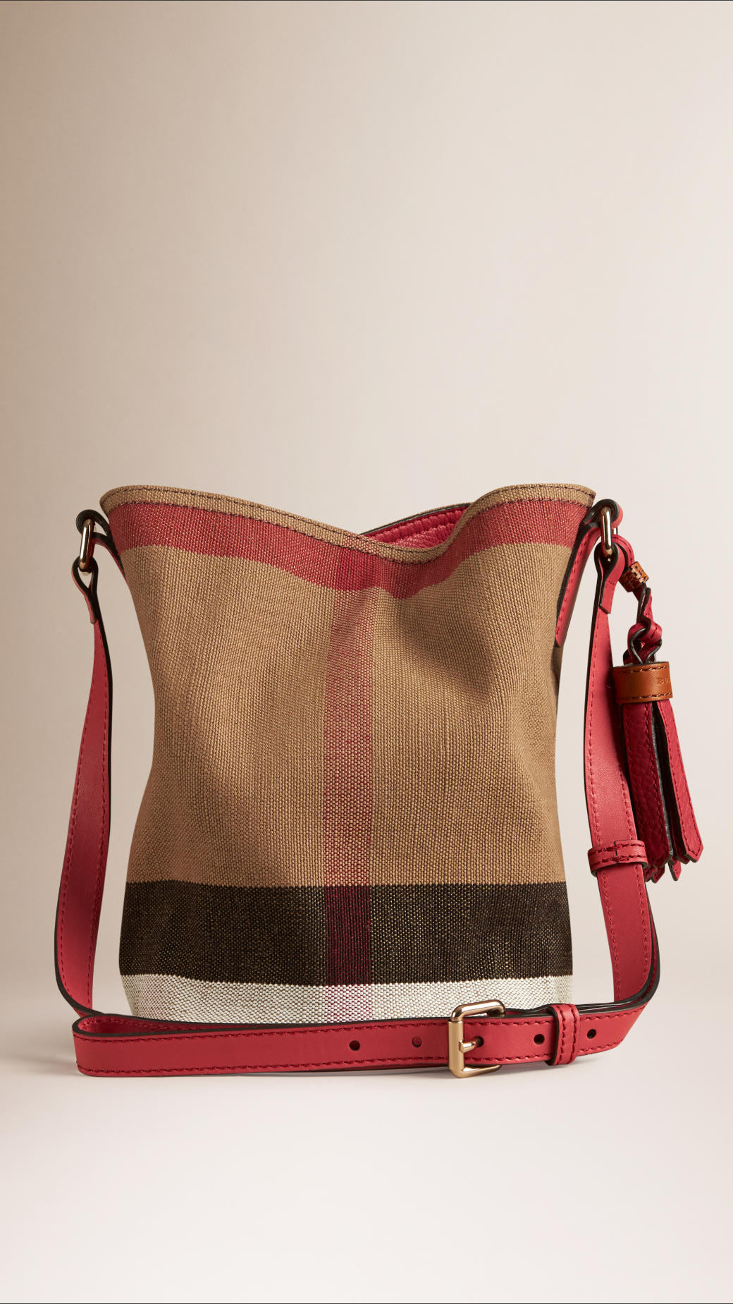 5e615b415937 Lyst - Burberry Mini Canvas Check Crossbody Bag in Pink