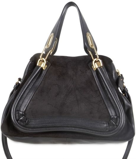 Chloé Small Paraty Waxed Leather Shoulder Bag in Black - Lyst