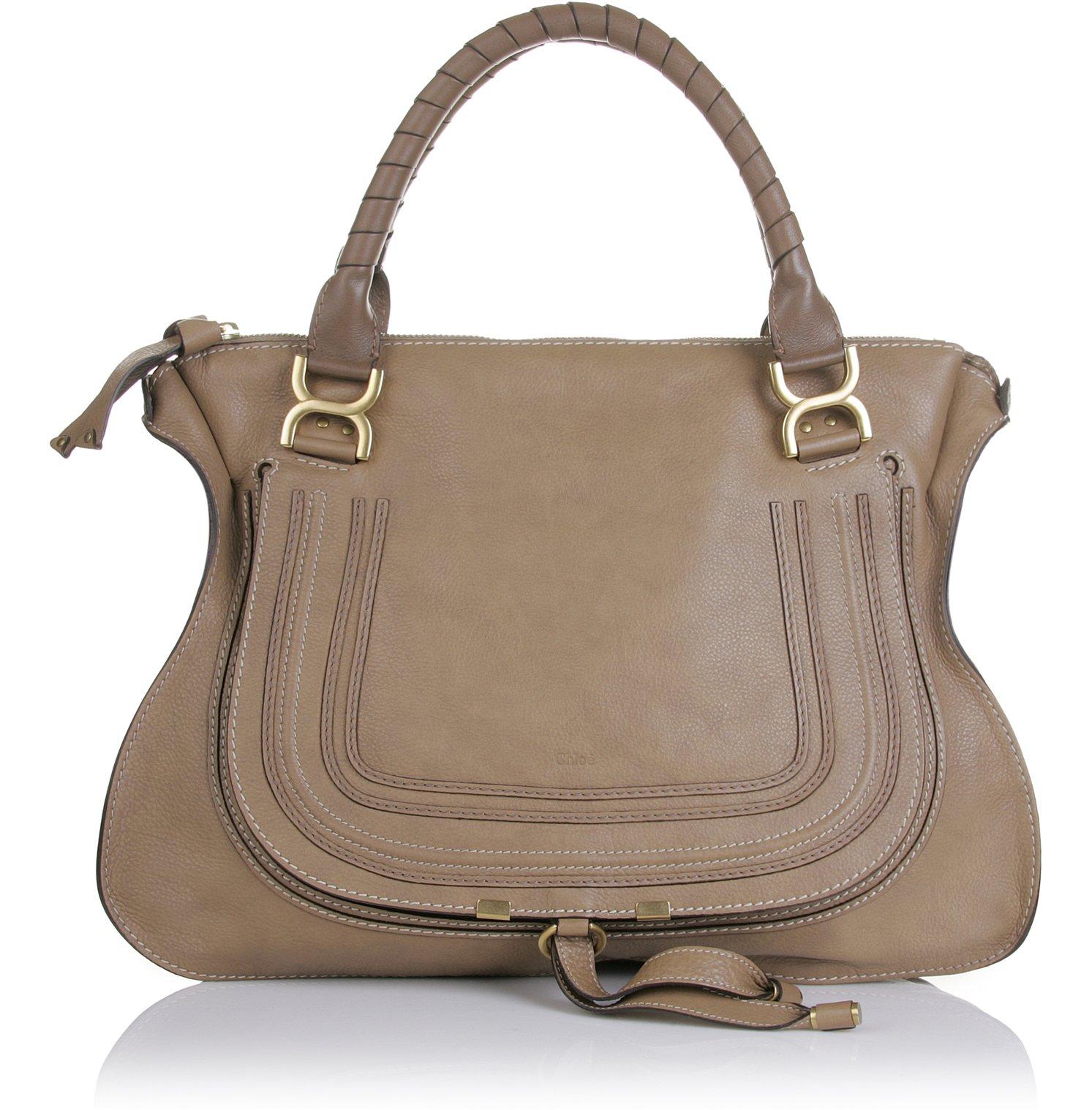 chlo marcie large shoulder bag tan in beige nut lyst. Black Bedroom Furniture Sets. Home Design Ideas