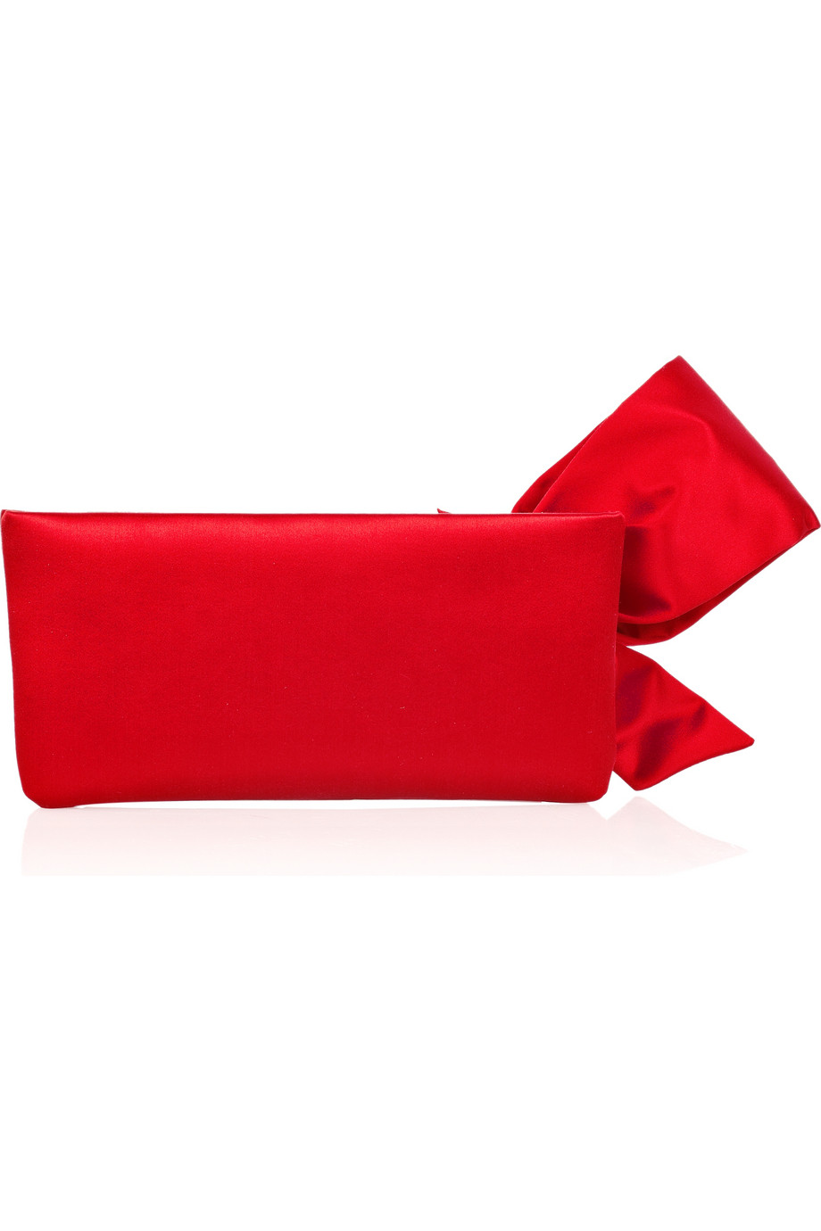 Valentino Bow Satin Clutch In Red | Lyst