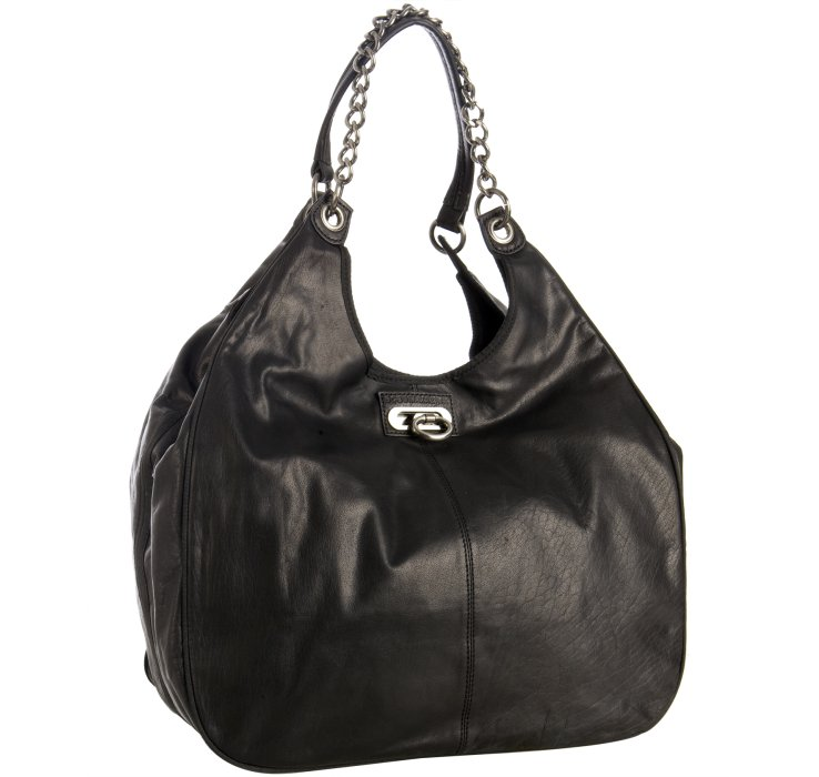 Bcbgmaxazria Black Leather 'Amelie' Large Slouchy Shoulder Bag 88