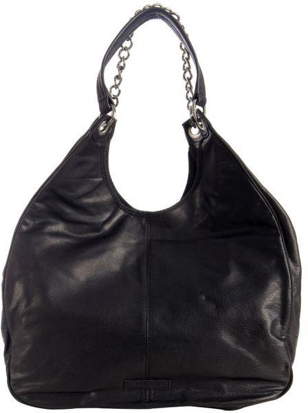 Bcbgmaxazria Black Leather 'Amelie' Large Slouchy Shoulder Bag 33