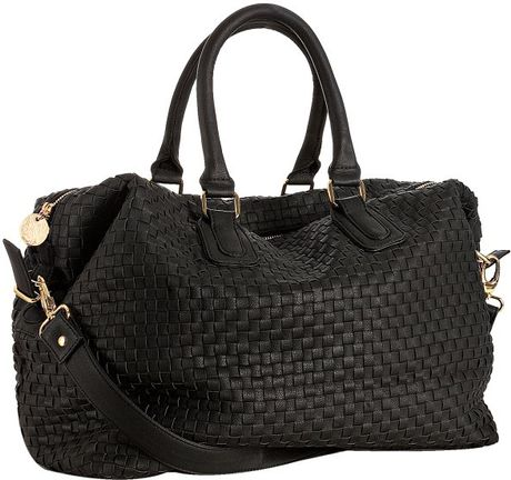 Deux Lux Black Woven Faux Leather Luella Overnight Bag In