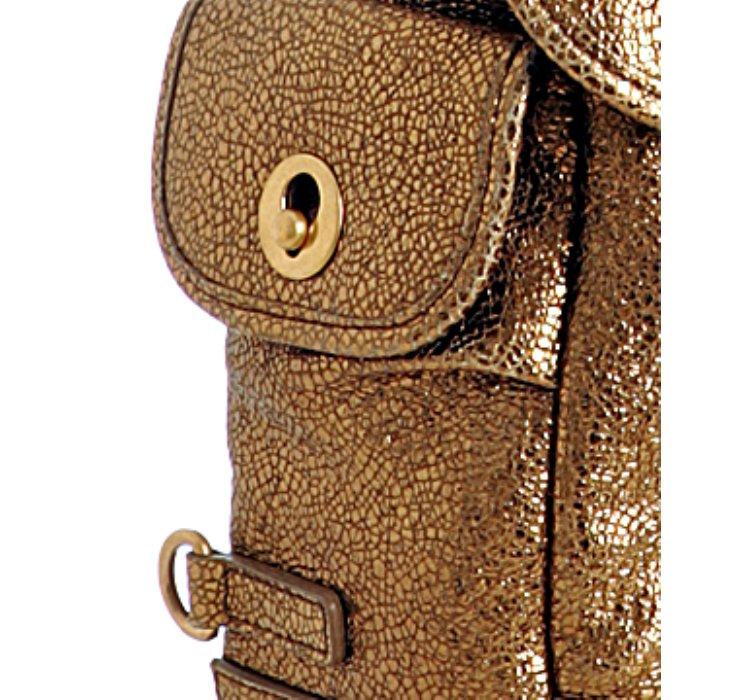 Saint laurent Gold Crackled Leather Besace Messenger Bag in Gold ...