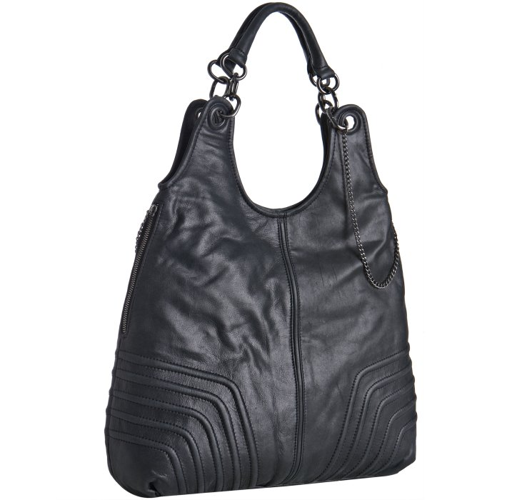 Bcbgmaxazria Black Leather 'Amelie' Large Slouchy Shoulder Bag 82