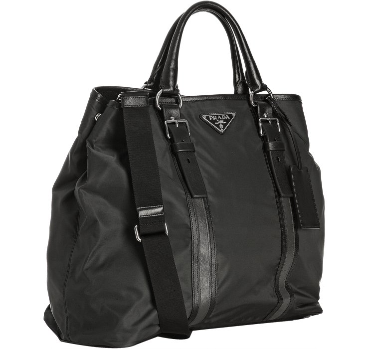 Prada Anthracite Nylon Leather Stripe Large Travel Tote in Gray ...
