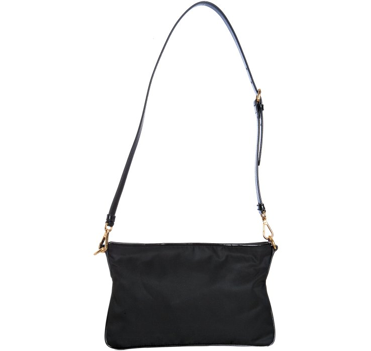 Prada Black Nylon Leather Trim Flat Shoulder Bag in Black | Lyst