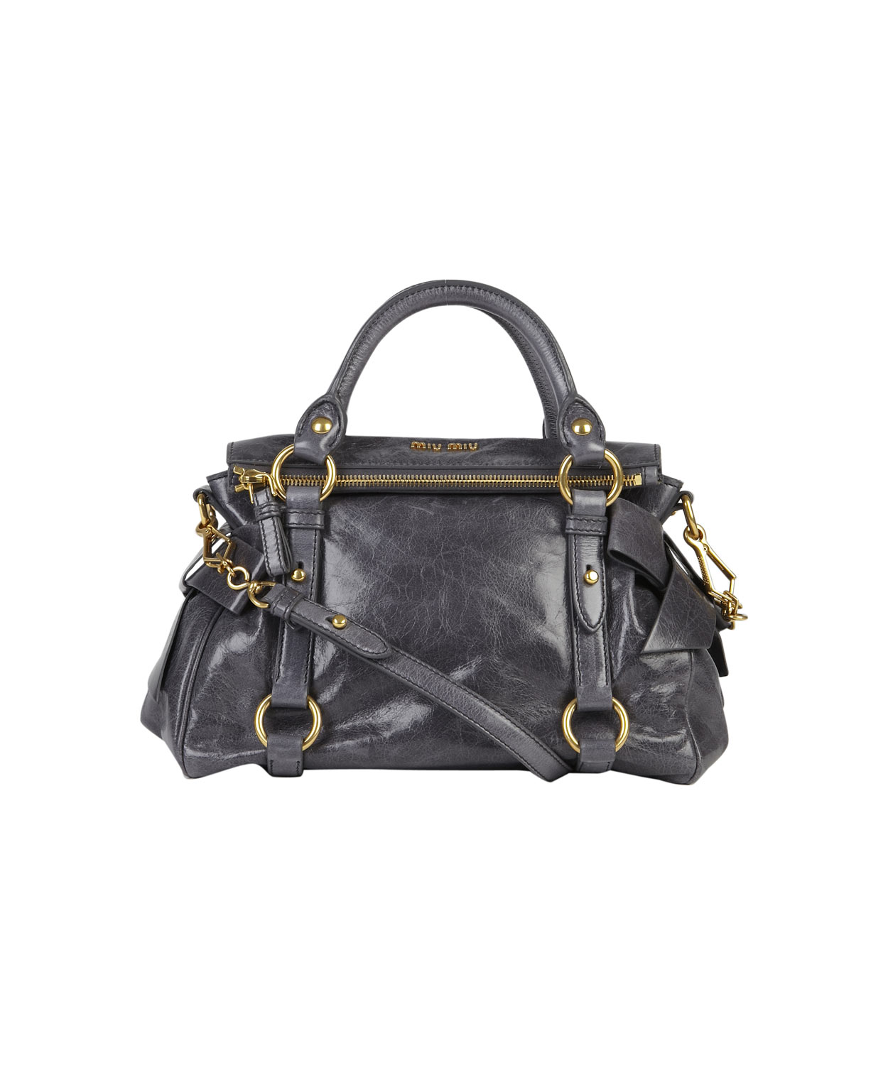 f49ce091d643 Miu Miu Mini Grey Vitello Bow Bag in Gray - Lyst