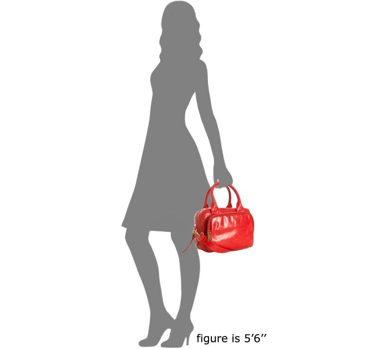 Prada Lacca Red Vitello Shine Leather Bauletto Small Zip Satchel ...