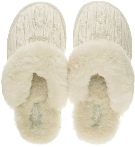 Ugg Cozy Knit Slippers In White Cream Lyst
