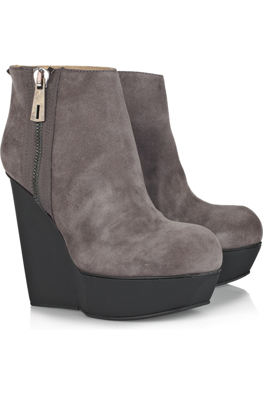 acne studios hybria suede wedge boots in gray smog lyst