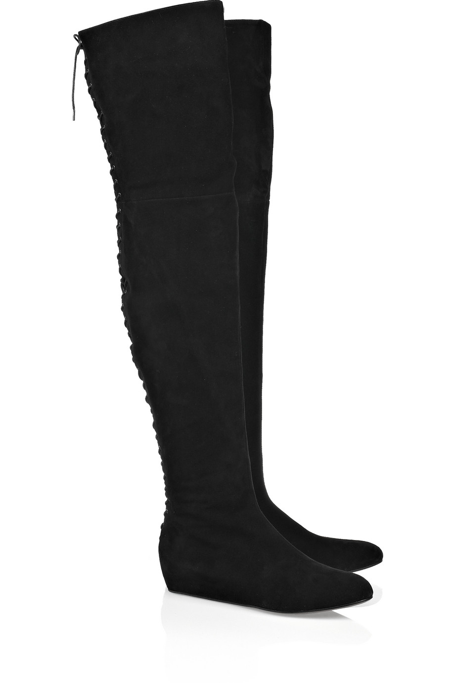 ala 239 a lace up thigh high suede boots in black lyst