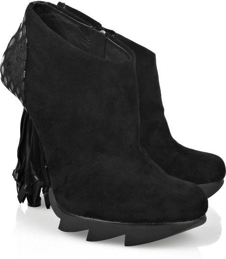 camilla skovgaard tassel heel suede ankle boots in black