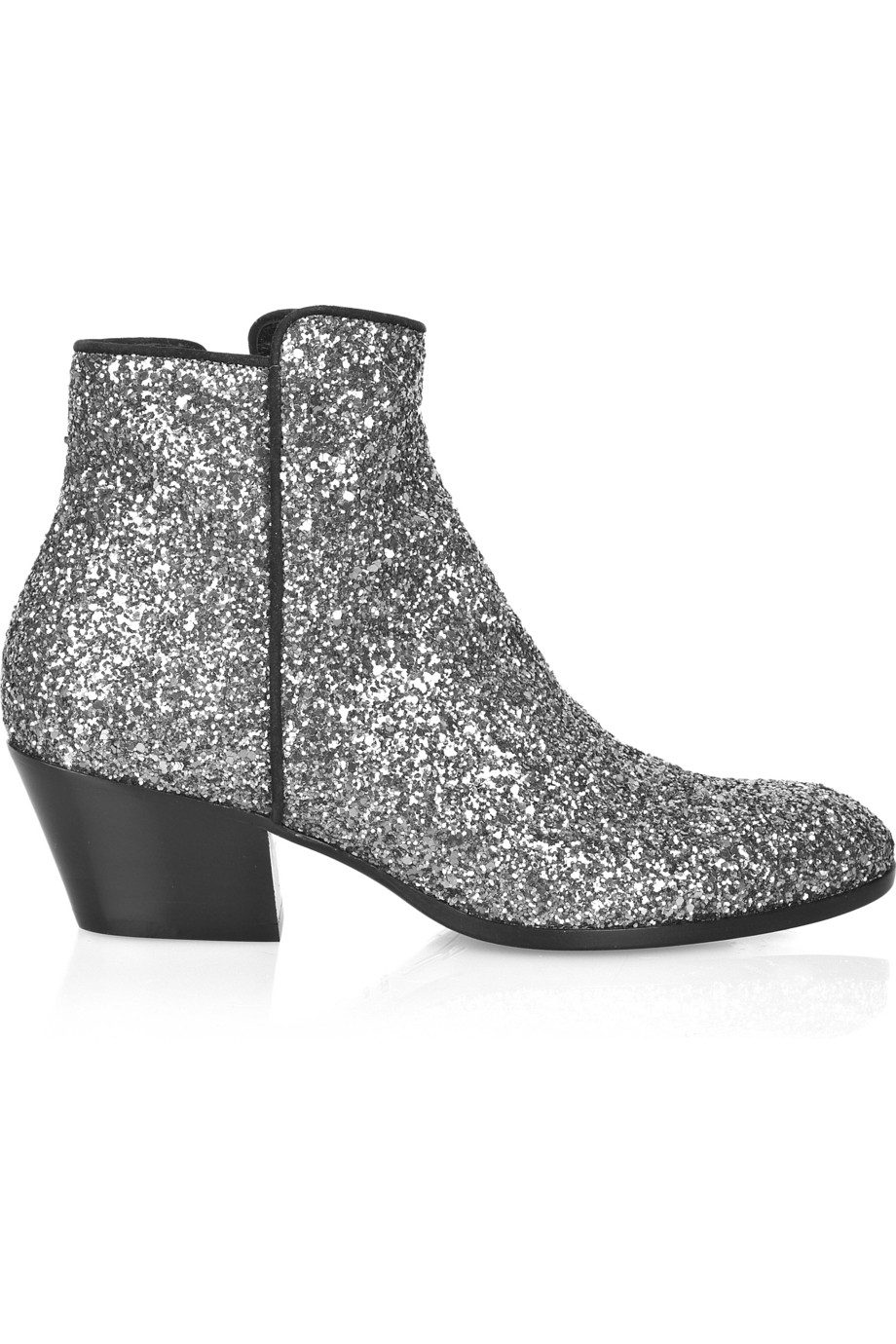 Giuseppe Zanotti Glitter Leather Ankle Boots In Silver