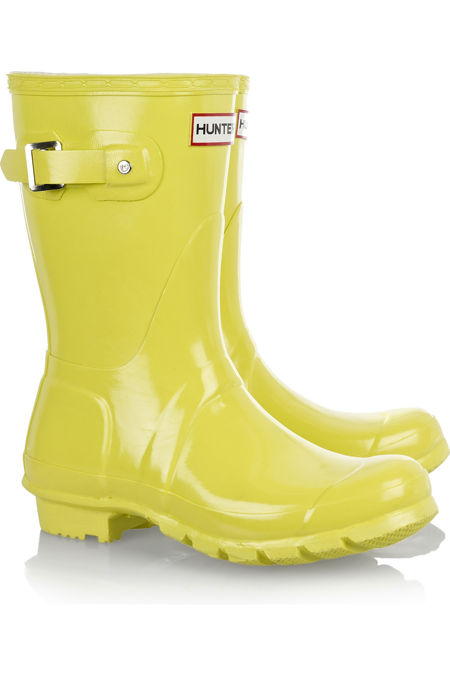 Hunter Original Short Gloss Rain Boot In Yellow Lyst