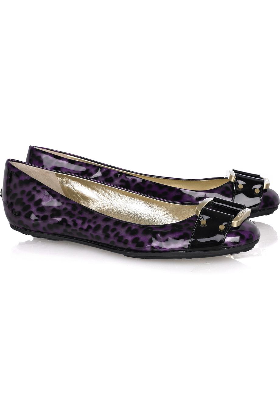 jimmy choo morse patent leather ballerina flats in purple lyst. Black Bedroom Furniture Sets. Home Design Ideas